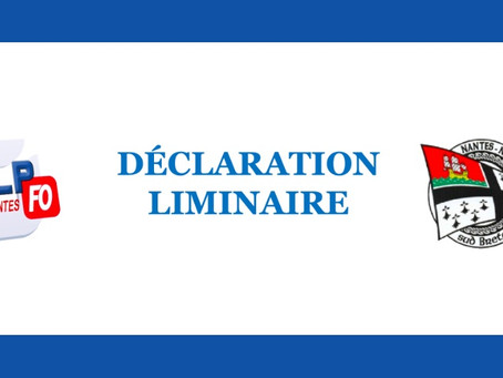 Prison de Nantes : Déclaration liminaire