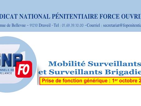 Mobilité Surveillants et Surveillants Brigadiers : Liste des postes proposés
