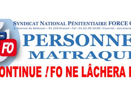 Personnels Matraqués : On continue ! FO ne lâchera rien !
