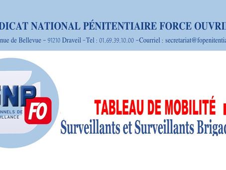 Tableau de mobilité : Surveillants et Surveillants Brigadiers