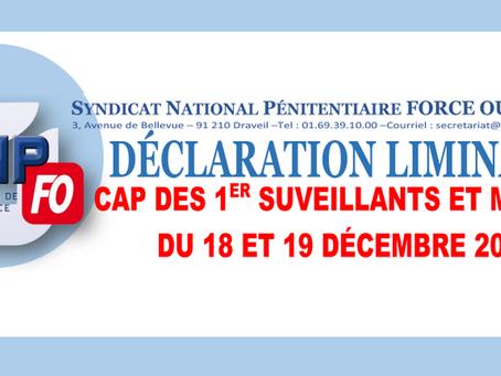 Déclaration liminaire : CAP des 1ers Surveillants et Majors du 18 au 19 Décembre 2019