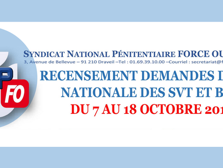 Recensement demandes de CAP Nationale des Surveillants et Brigadiers du 7 au 18 Octobre 2019