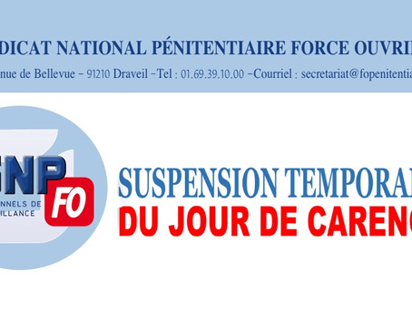 Suspension temporaire du jour de carence