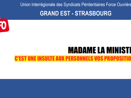 DI Grand-Est Strasbourg : Madame la Ministre c'est une insulte aux personnels vos propositions