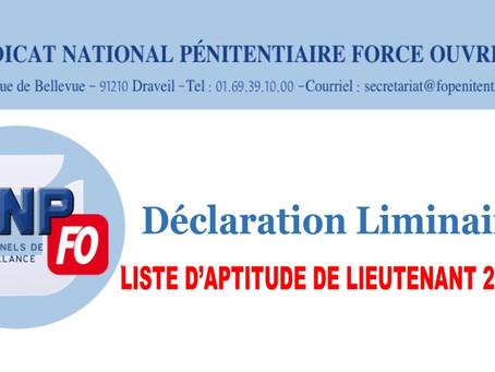 Déclaration liminaire : Liste d'aptitude de Lieutenant 2020