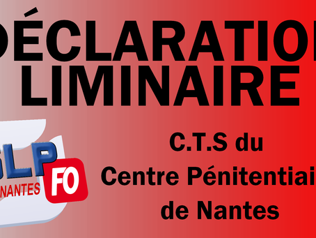 Prison de Nantes : Déclaration liminaire du C.T.S du centre pénitentiaire