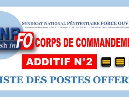 CAP-Mobilité-Fermée Corps de Commandement des 19 et 20 Septembre : Liste des postes offerts Additif
