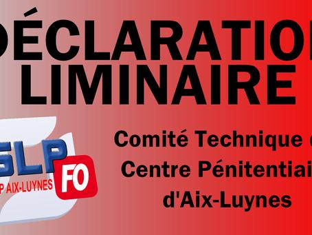 Prison d'Aix-Luynes : Déclaration liminaire du Comité Technique