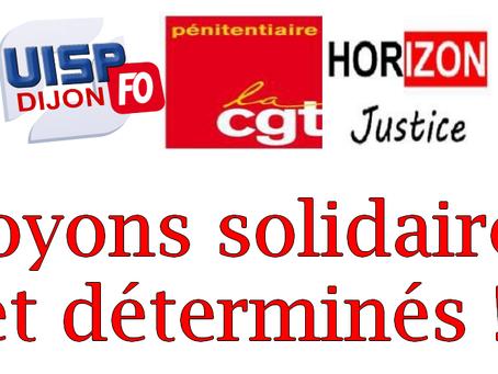 Entente syndicale Dijon : Soyons solidaires et déterminés !