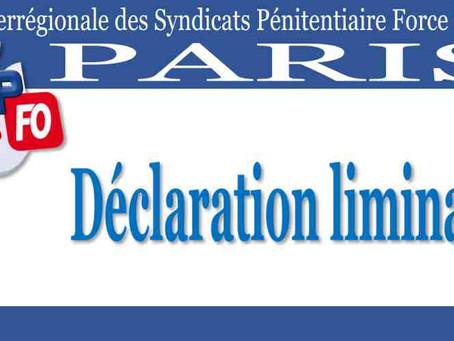 DI de Paris : Déclaration liminaire