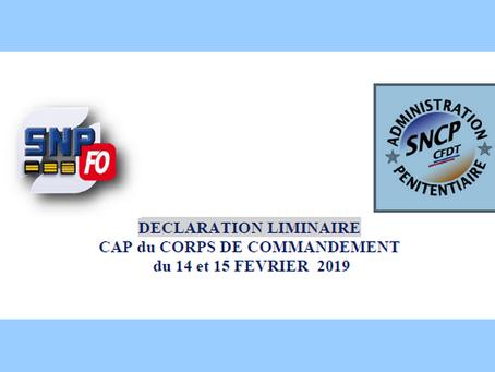 Déclaration Liminaire : CAP du Corps de Commandement du 14 et 15 Février 2019