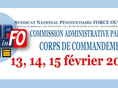 Commission Administrative Paritaire : Corps de Commandement 13, 14, 15 Février 2019