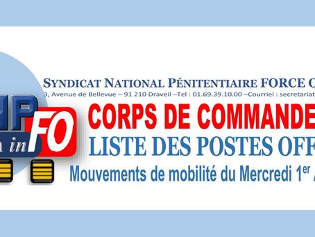 Corps de Commandement : Liste des postes offerts Mouvement de Mobilité du Mercredi 1er Avril 2020