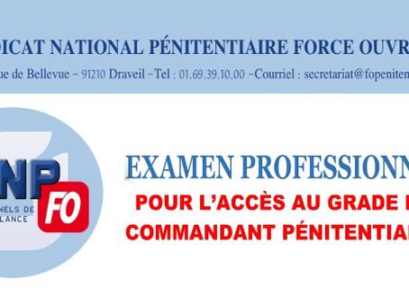 Examen professionnel : Pour l'accès au grade de Commandant Pénitentiaire