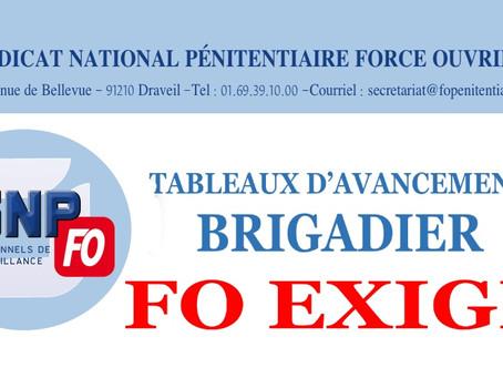 Tableaux d'avancement Brigadier : FO exige