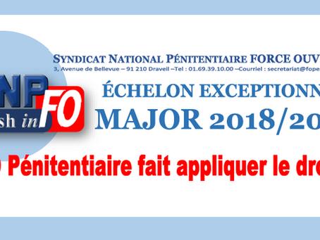 Échelon exeptionnel Major 2018/2019 : FO Pénitentiaire fait appliquer le droit !