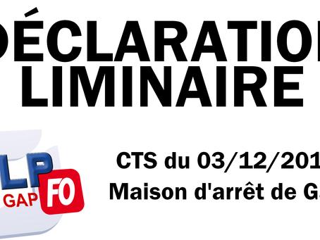 Prison de Gap : Déclaration liminaire du CTS du 03/12/2019