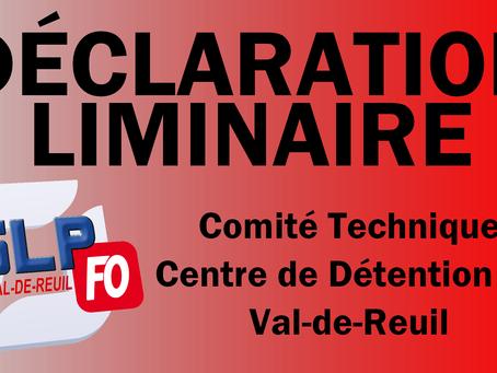 Prison de Val-de-Reuil : Déclaration liminaire