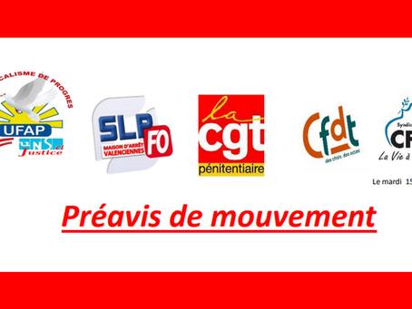 Prison de Valenciennes : Préavis de mouvement