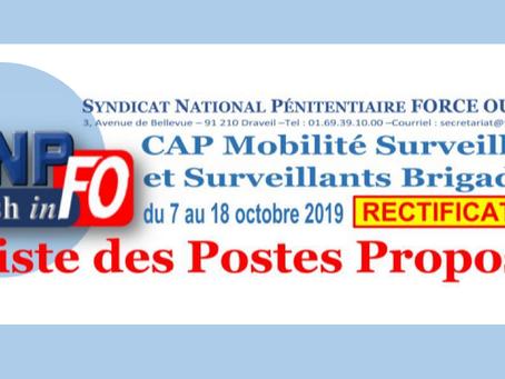 CAP Mobilité Surveillants et Surveillants Brigadiers du 7 au 18 Octobre 2019 : Liste des postes prop