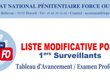 Liste modificative postes 1ers Surveillants : Tableau d'Avancement / Examen Professionnel