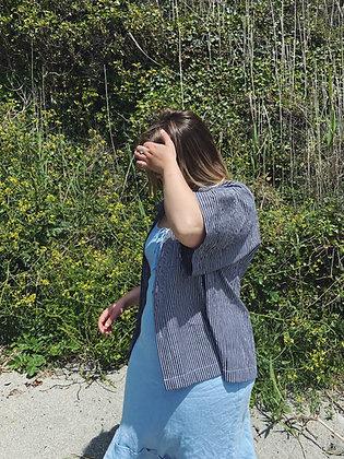 Women's Arwenack Shirt / B&W Striped Organic Cotton
