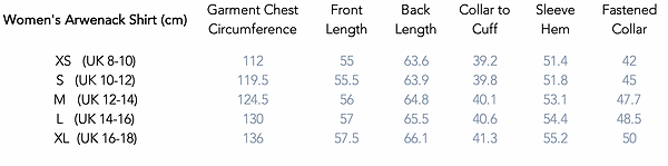 Women's Arwenack Shirt Size Guide.png