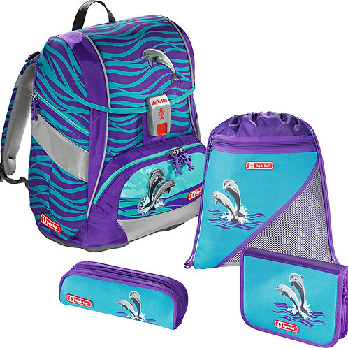 STEP BY STEP® Schulrucksack-Set 2in1 4teilig Happy Dolphins