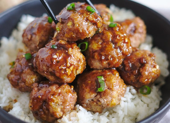 Maple Soy Turkey Meatballs with side of rice pilaf
