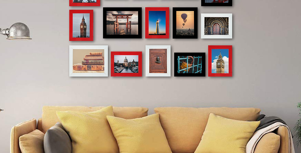 WENS Set of 15  Synthetic Wood Wall Mounted Photo Frames- Multicolor