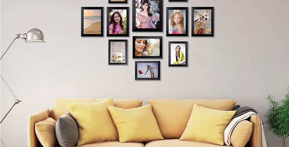 WENS Set of 12  Synthetic Wood Wall Mounted Photo Frames- Black