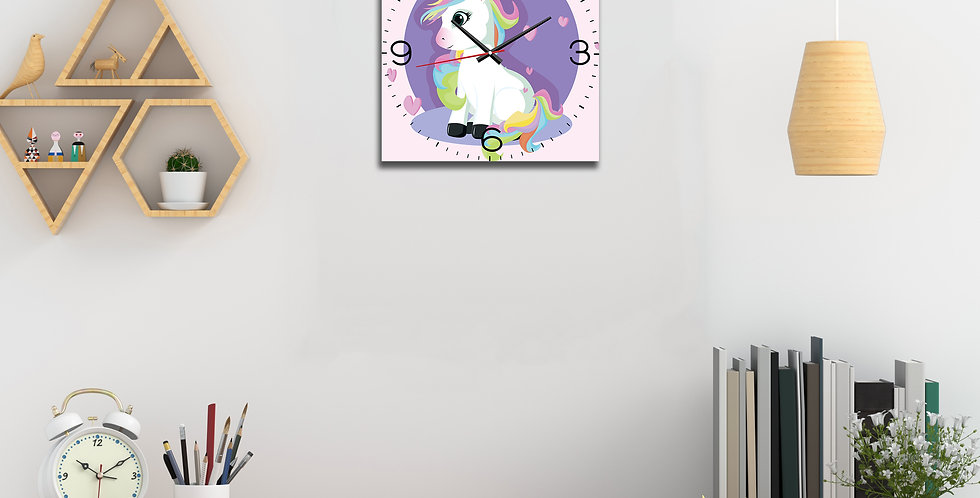 WENS Colorful 11x11 Inch Silent Non Ticking Battery Operated Kids Wall Clocks