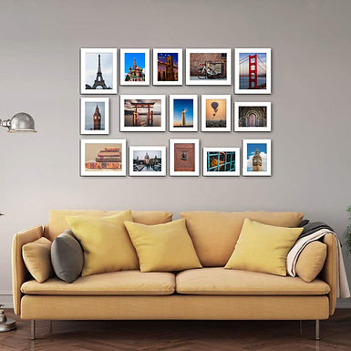 WENS Set of 15  Synthetic Wood Wall Mounted Photo Frames- White