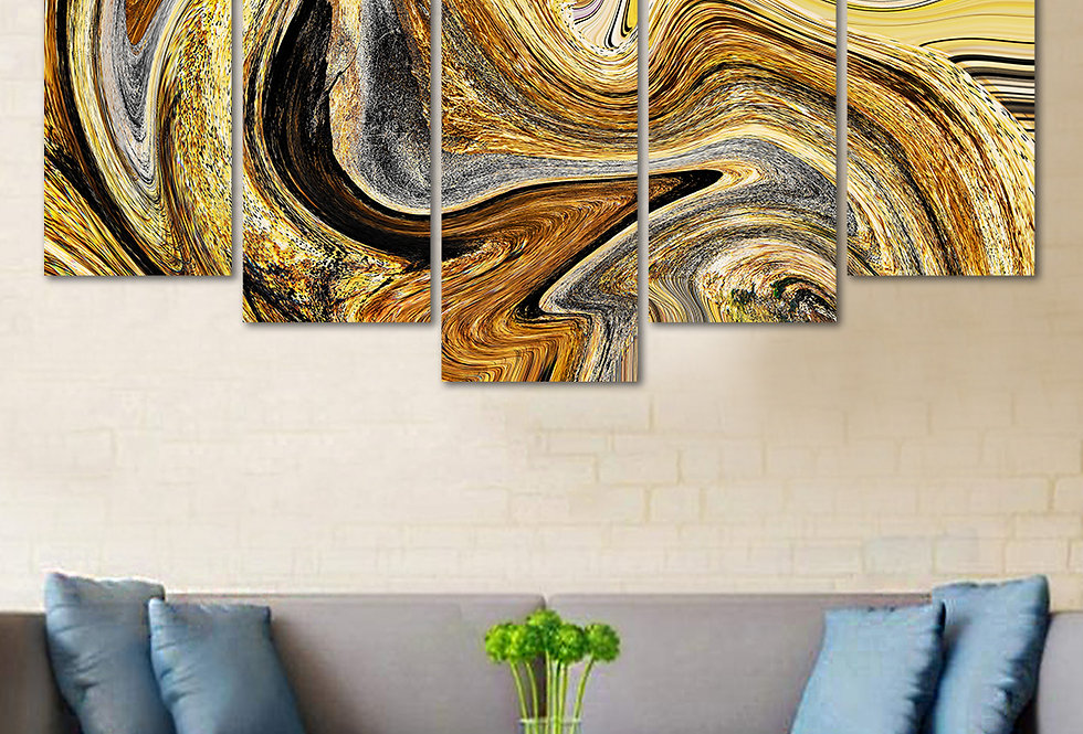Velvet Laminated  Abstract 5 Panels  Wall Art