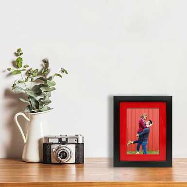 WENS Double Framing Synthetic Wood Wall Mount and Table Photo Frame- Black & Red