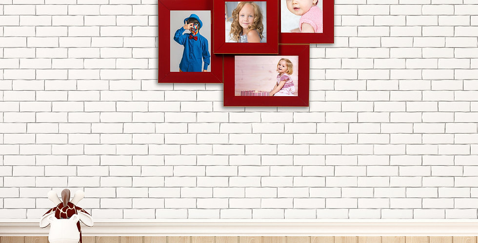 WENS 5 Openings  Decorative Wall Hanging Collage Picture Photo Frame - Red
