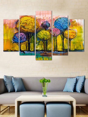 Velvet Laminated Tree 5 Panels  Wall Art