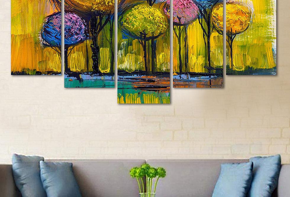 Velvet Laminated Tree 5 Panels  Wall Art