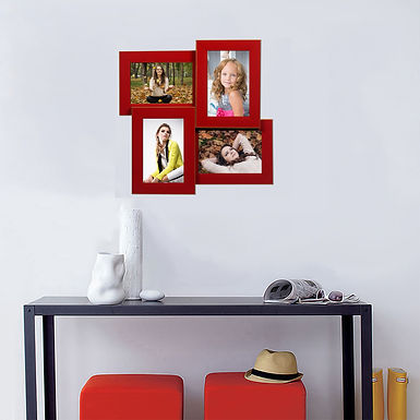 WENS 4 Openings  Decorative Red  Wall Hanging Collage Photo Frame - Red