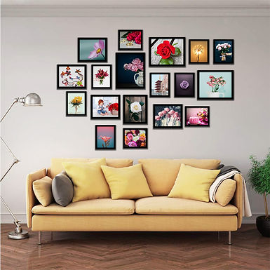 WENS Black Set of 18  Synthetic Wood Wall Mounted Photo Frames