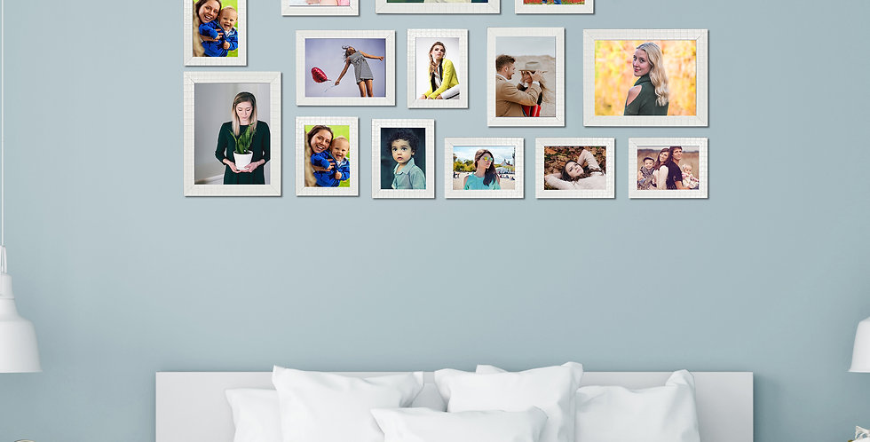 WENS Set of 16  Synthetic Wood Wall Mounted Photo Frames- White
