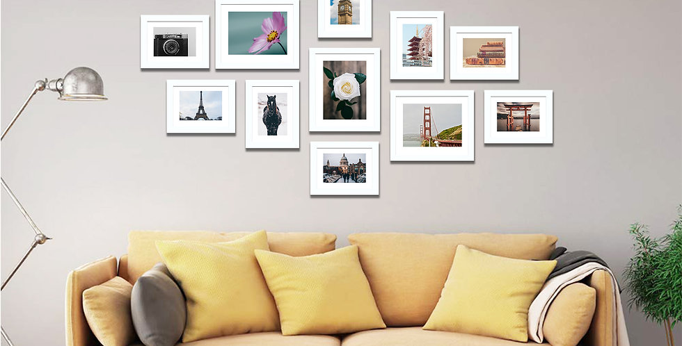 WENS Set of 11  Synthetic Wood Wall Mounted Photo Frames-White