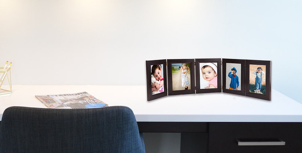 Wens Synthetic Wood Quinary Table  Photo Frames with Front Acrylic Glass- Brown