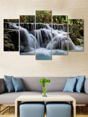 WENS Velvet Laminated Beautiful Waterfall  5 Panels Wall Art