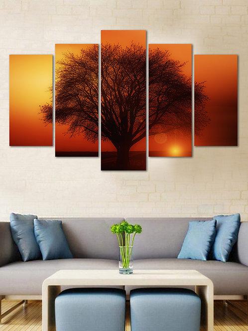WENS Velvet Laminated  Sunset Tree Reflection 5 Panels  Wall Art