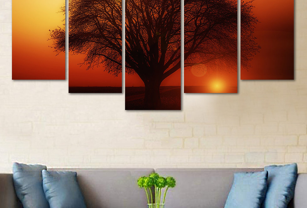 WENS Velvet Laminated  Sunset Tree Reflection 5 Panels  Wall Art