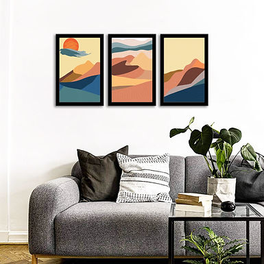"""WENS Framed """"Nature Abstarct Wall Art  Painting""""  Set of 3"""