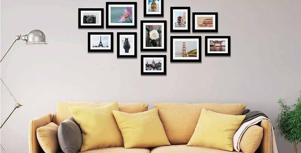 WENS  Set of 11  Synthetic Wood Wall Mounted Photo Frames- Black