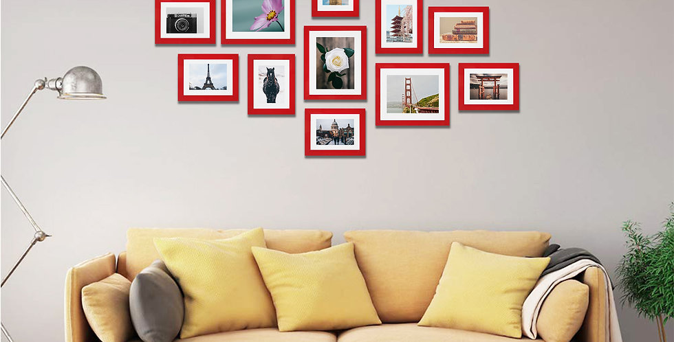 WENS Set of 11  Synthetic Wood Wall Mounted Photo Frames-Red