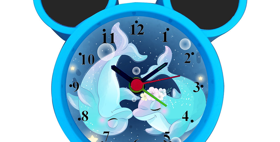 Cute Cartoon Dolphin Alarm Clock for Kids Room by WENS